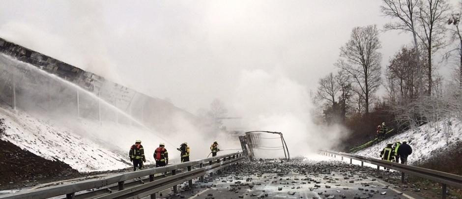 LKW-Brand auf der B68